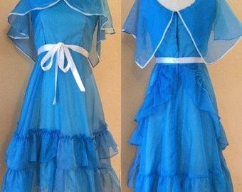 Blue Vintage Party Dress, Prom, Formal, Storybook Dress, Ruffled Dress,Teen Dress