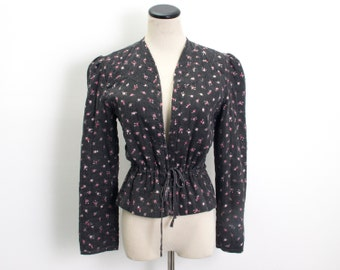 VTG 70's Floral Quilted Calico Jacket (Small / Medium) Black Pink Victorian Prairie Cardigan Boho Hippie Puffed Sleeves Open Front