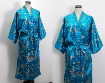 VTG 80's Silky Blue Dragon & Phoenix Kimono (Free Size / Medium / Large) Embroidered Oriental Robe Dressing Gown Bohemian Asian