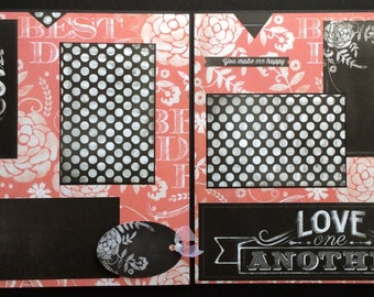 Premade Scrapbook Album Two Page Layout, Chalkboard Scrapbook Page, Polka Dot, Pink Floral, Happiness Scrapbook Page, Chalkboard Layout