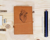 Leather Journal - Leather Sketchbook Cover - Personalize - Monogram - anatomical heart