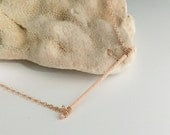 Rose Gold Filled Hammered Bar Necklace - Textured- Stick- N386RG - handmade wire jewelry by cristysjewelry on etsy
