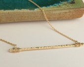 Gold Filled Hammered Bar Necklace - Textured- Stick- N386GF - handmade wire jewelry by cristysjewelry on etsy