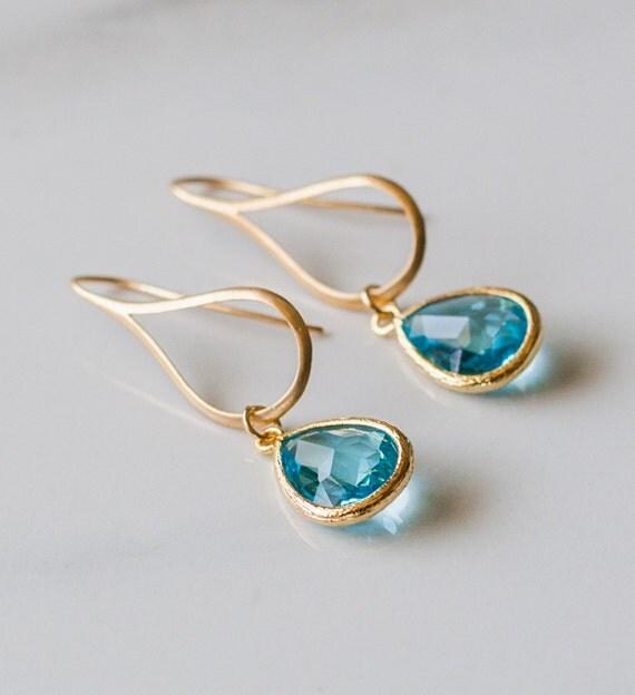 Blue drop, glass, gold earring, wedding, aqua, simple, gift for her, ocean, dangle earrings, handmade in Santa Cruz