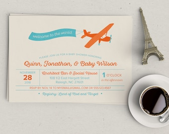 Airplane Baby Shower Invitation | Girl, Boy or Gender Neutral | Digital File or Printed Invitations
