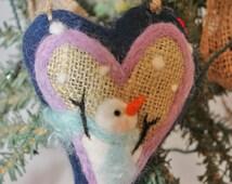 Snowman Heart Ornament Needle Felted Prim Snowman Heart Felted on Burlap #759