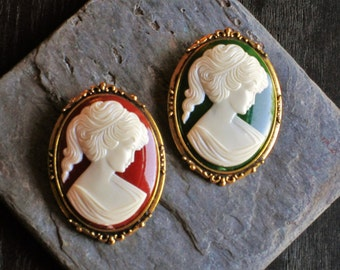Vintage cameo brooch, antique gold brooch, victorian brooch, green brooch, red brooch, cameo jewelry, holiday gift ideas, gift ideas for mom