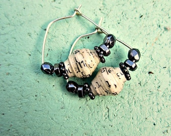 Silver Earrings with Salvaged Paper Beads: Zola