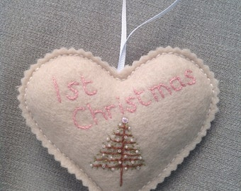 Hand Stitched Wool Felt and Linen 1st Christmas Heart Hanger Decoration