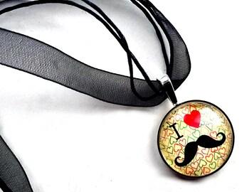 Mustache Organza Ribbon Necklace, I Love Mustaches Ribbon Necklace, Black Mustache Pendant, Facial Hair Organza Ribbon Choker Necklace