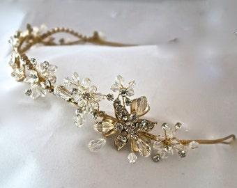 Bridal crystal headband,Wedding headband, gold silver bridal hair accessories,Bridal Tiara Rhinestone Crown