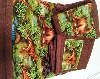Brown Dinosaur Theme Towel Set