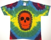 Rainbow Tie Dye Shirt, Zombie Skull Tie Dye T Shirt - Youth Small