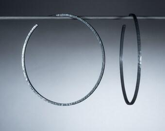 Large Oxidized Sterling Silver Hoop Earrings/ Big black earrings/ Hammered hoop earrings/ Modern minimalist jewelry/ 2.2 inch/ EHNOX-55mm