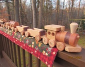 Train set 6 car Wooden Handmade toy Large oak and walnut Heirloom Quality  Beautifully hand finished. You get this set! Ready to ship!