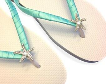 Aqua Bridesmaid Flip Flops - Starfish Flip Flops - Bridal Flip Flops - Beach Wedding - Robins Blue Wedding - Aqua Wedding - Bridal Sandals