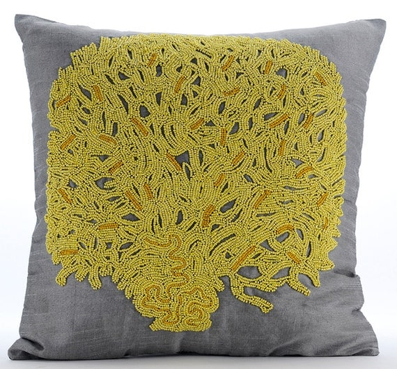 thehomecentric - Grey & Yellow Decorative Throw Pillow Covers Accent Pillow Couch Toss Bed ...