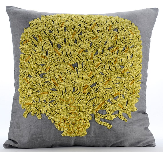 Yellow Decorative Pillows For Bed : thehomecentric - Grey & Yellow Decorative Throw Pillow Covers Accent Pillow Couch Toss Bed ...