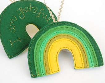 Rainbow Reminder - A Green Rainbow Felt Decoration Stitched in Gold with the Positive Affirmation, I am Grateful Heart Chakra Colour Therapy