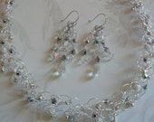 Bridal Jewelry, Crocheted Necklac Set, Necklace and Earring Set, Crystal Earrings, Handmade Jewelry, Gift Idea, Crocheted Wedding Jewelry
