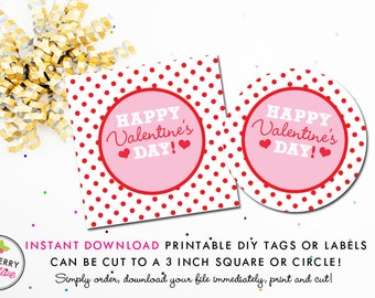 Red Polka Dots Valentine's Day Tag - Instant Download, Printable 3 inch Square Valentine Stickers or Tags