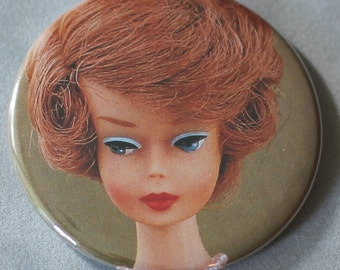 vintage barbie redhead upcycled pocket mirror