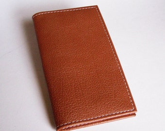 Tan Leather Checkbook Cover - Textured Tan Leather Check Book Holder