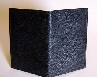 Navy Blue Leather Passport Cover Wallet - For U.S. and Canada Passports