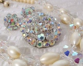 1950s Vintage Necklace Pin Earrings Set, Crystal & Faux Pearl Bead Vintage Costume Jewelry Parure