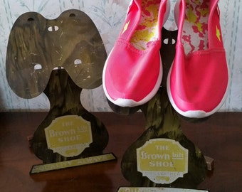 Antique Advertising Shoe Stands, Store Counter Displays, Tin Litho, 2 Brown Bilt Co