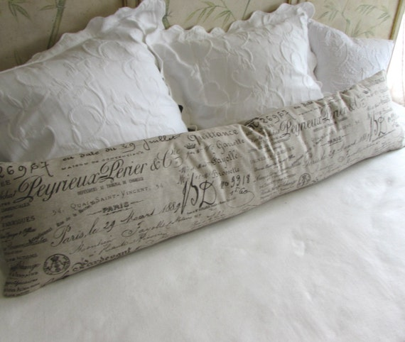 FRENCH SCRIPT long decorative bolster pillow 12x54 includes