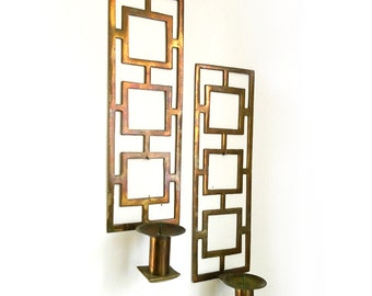 Vintage Solid Brass Sarreid Candle Holders Hollywood Regency