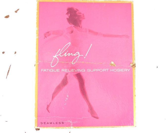 Vintage Nylon Stockings - 1960s Seamless Support Stockings Beige Size 11L (XLarge) - Vintage Hoisery