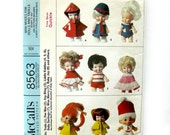 "Mini-Modes for Dolls and TROLL Dolls / McCall's 8563 / Fits 3 to 4 1/2"" Dolls / 9 Outfits /  Fit 8 Body Types / Pee Wee / Itsy Bitsy"