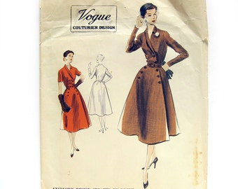 1950s Vintage Vogue Couturier #643 Sewing Pattern -  Wrap Coat Dress with Shawl Collar / Size 12