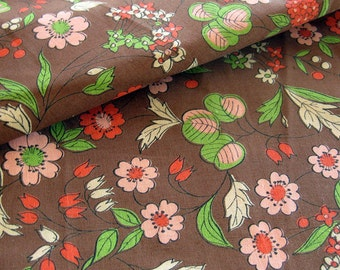 Vintage Floral Print Cotton Fabric in Pink, Brown and Green / Vintage Yardage / Cotton Yardage