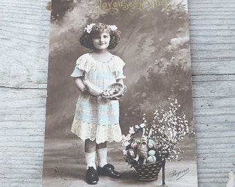 Vintage Antique 19100 French real photography postcard girl with eastern egg
