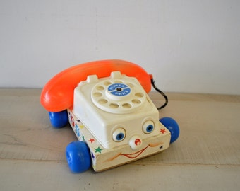 Vintage 1960s Fisher Price Chatter Telephone - Fisher Price  Chatter Telephone - Fisher Price Toy Phone