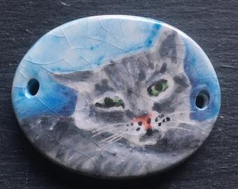 Ceramic Pendant Handpainted Gray Cat Porcelain