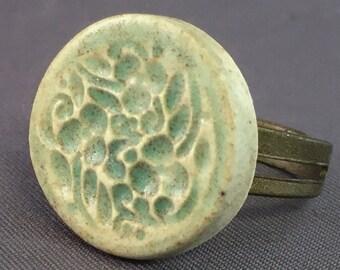 Porcelain Ring Flower Ring Ceramic Ring Earthy Green Flower Round