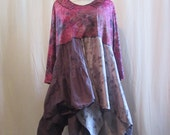 Boho Tunic Flowing Layered Ruffled Cotton Knit Silk Distressed Floral Print One Size Plus to 2X