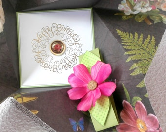 Folded Pinwheel BIRTHDAY Card  in brown, pink and green, with floral theme, perfect for the nature lover