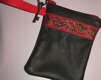 Black LEATHER w/Red Embroidered Trim Zip Coin Purse