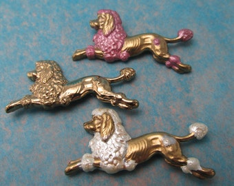 French Poodle Scatter Pins French vintage brooch Dog pins poodle pins set of 3