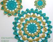 ENCHANTED FOREST Mandalas UK Crochet Pattern 3 sizes