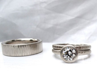 Diamond Pacific Ring his and hers engagement ring and matching wedding bands