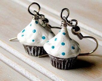Miniature Food Jewelry Mini Clay Cupcake Dangly Earrings - Bright White Frosted Cupcakes with Teal Aqua Blue Sprinkles