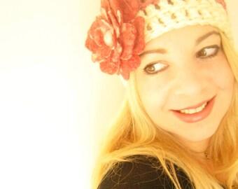 Cinnamon Crochet Beanie Hat -Felt Flower Brooch-Hand Felted with Merino Wool in Cinnamon