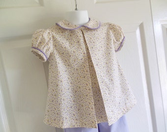 "Ava - Girls Classic A-line Box Pleat Peter Pan collar blouse ONLY - ""Ava"" - 6 mos to size 6 - Calico Collection"