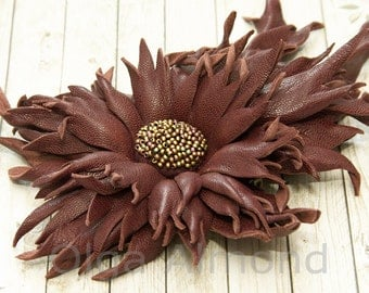 Fantasy brown  brooch.Leather flower. Leather brooch . Fantasy Leather jewelry